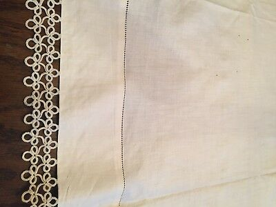 ANTIQUE FRENCH LINEN SHEET 90x108 CROCHETED EDGE WITH HEM STITCH just reduced