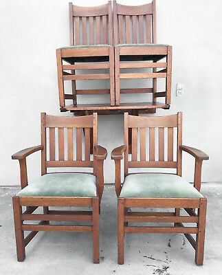 Limbert Signed Mission Oak Dining Chairs, Arts & Crafts American c.1905 Antique