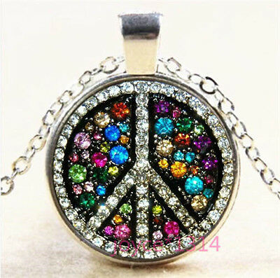 Peace Symbol Cabochon Silver/Bronze/Black/Gold Glass Chain Necklace #6670