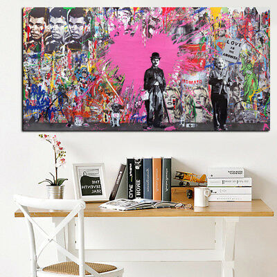 """NEW Canvas 24""""x47"""" in. Banksy Street Art Print Charlie Chaplin Painting Picture"""