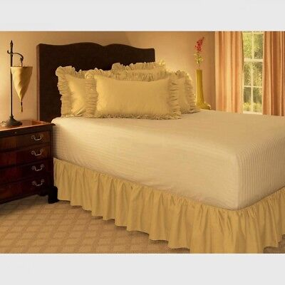 """LUXURY PLAIN DYED FRILLED BED SKIRT BED VALANCE 15"""" Drop Camel-120cmx200cm"""