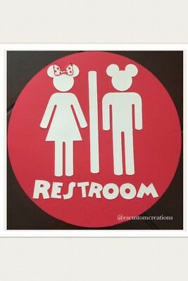 Red White Mickey Mouse Clubhouse Bathroom Sign