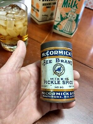 Vintage Antique Bee Brand McCORMICK & Co spice tin mixed pickle spice Baltimore