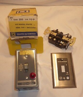 2 Manual Electricaly Motor Starters  Square D FHP (NOS) & Allen Bradley
