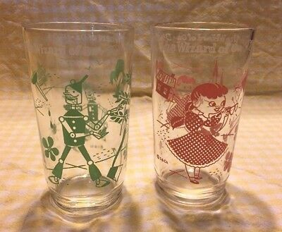 2 Vintage 1950's Wizard of Oz Glasses, Swift Peanut Butter, Dorothy Tin Woodman