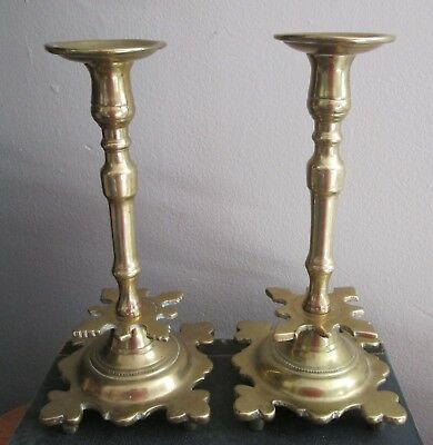 A Pair of Antique 17th-18th Century HEAVY Russian BRASS Candlesticks Late 1600's