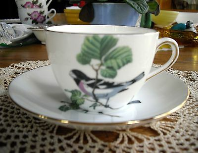 Vintage Crown Staffordshire Bird Fine Bone China England Tea Cup & Saucer ~