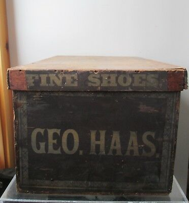 Rare! ANTIQUE 19th Century GEO. HAAS Fine Shoes Pine WOOD SHOE BOX Square Nails