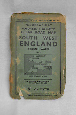 Geographia Motorists & Cyclists Road Map of South West England & South Wales 6d.