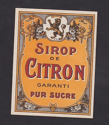 Ancienne étiquette   France BN42879 Sirop de Citron Lion