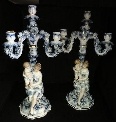 """Pair German Dresden Hand Painted Porcelain Candelabra. Lt.19th c.approx. 20"""" t."""
