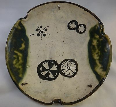 "Antique 19th c. Japanese Oribe Pottery Dish. Meiji period -1868-1912, 10 5/8"" d."