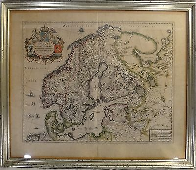 Original Lg Old World map of Sweden, Denmark, Norway, c. Mid-17th c. Anders Bure