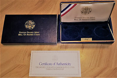 1993 Bill of Rights Commemorative 3-Coin Proof Set OGP Box and COA (No Coins)