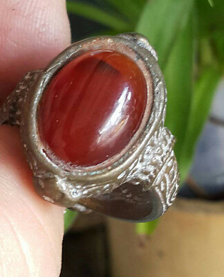 Antique Vintage Wonderful Unique Red Gemstone Brass Ring Size 10