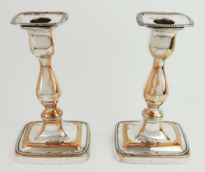 Antique PAIR SHEFFIELD SILVER PLATE CANDLESTICKS 19th Century