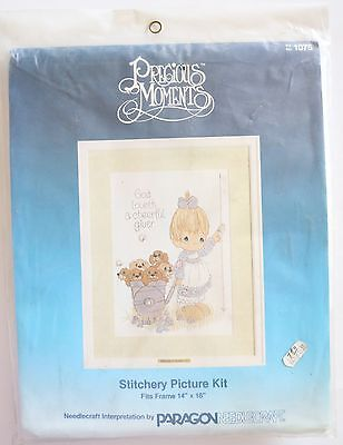 New 1984 Precious Moments God Loveth A Cheerful Giver Stitchery Picture Kit 1075