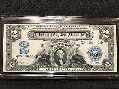 1899 Really Nice Two Dollar $2 Mini Porthole Silver Certificate! NR!