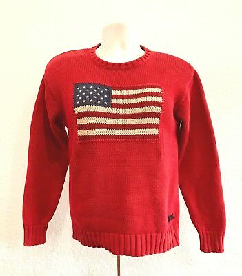 Polo by Ralph Lauren Blue Label 1990's USA Flag Knit Cotton Sweater Red Womens L