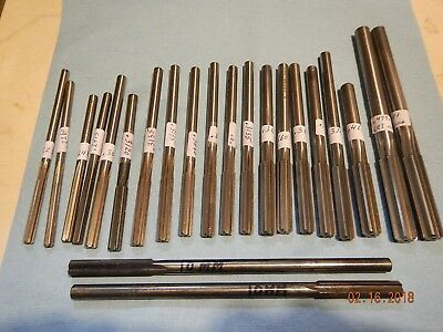 "Lot Of 20 Hss + 2 Carbide Tipped Chucking Reamers .2230"" To .5010"" (Package 33)"
