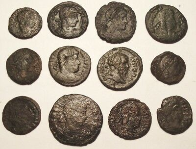 Lot of 12 Æ2-4 Ancient Roman Bronze Coins from III-IV. century