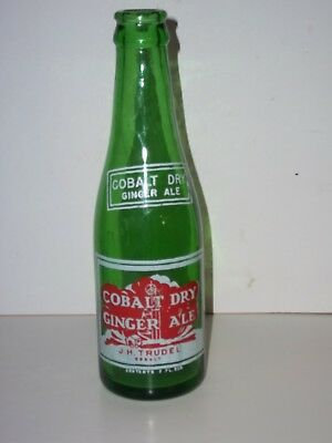 EXC 1946 COBALT DRY GINGER ALE 7 Oz GREEN Glass BOTTLE ACL J Trudel ONTARIO,Ca