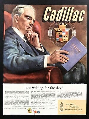 1945 Vintage Print Ad 40's CADILLAC Mam Reads Studies Owners Manual Art