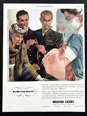 1945 Vintage Print Ad 40's WEBSTER CIGARS Military Man Baby Born Image