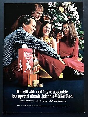 1973 Vintage Print Ad JOHNNIE WALKER RED Scotch Holiday Christmas Tree Friends