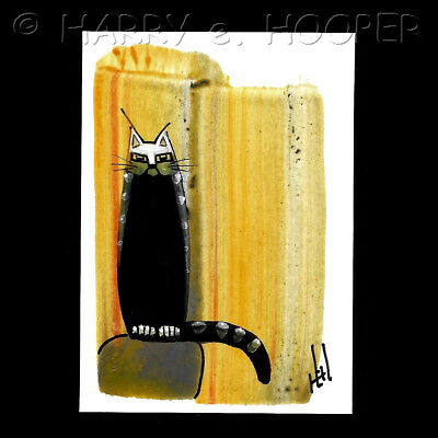 "hand painted  ACEO original art card * Harry e Hooper ""Nyx 34"" black cat"