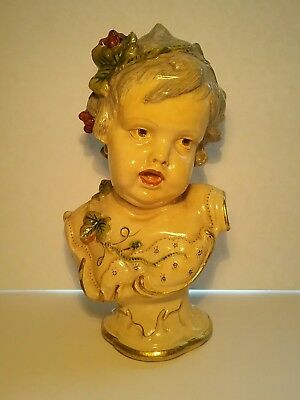 Antique CHILD BUST - Hand Painted - Victorian Bust - French Antiques  No Damage!
