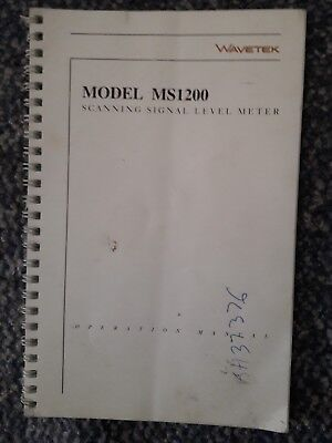 Wavetek Acterna JDSU MS-1200 Signal CATV Meter MS1200 Manual Only