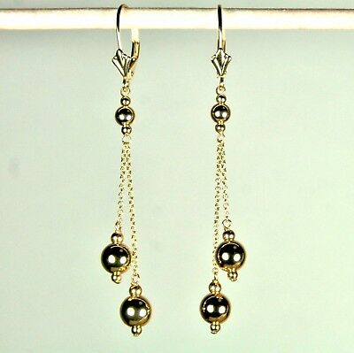 14K solid yellow gold 6mm round ball dangle/drop earrings leverbacks 1.7 grams