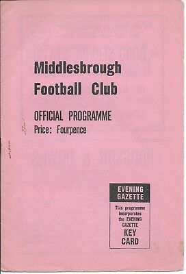 "RARE ""PINK"" Middlesbrough v Stoke City 8/12/62 1962/63 Division 2 Low Start"
