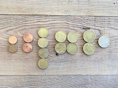 Euro Coins: 1 1, 2 50's, 4 20's, 4 10's, 2 2's, 2 1's