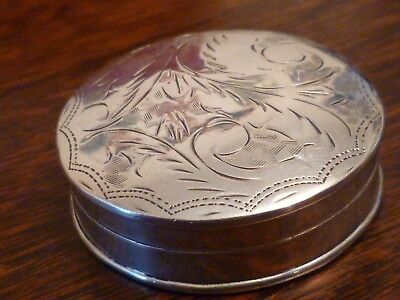Large Sterling silver pill pot - Full British Import Hallmarks - Hand chased