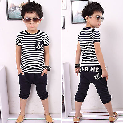 Summer Kids Boys Striped Anchor Tee Top T-shirt Shorts Pant Outfits Sets Clothes
