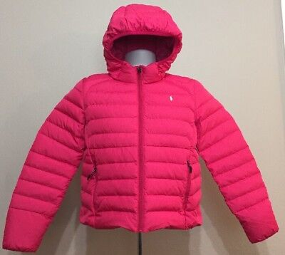 Ralph Lauren Polo Puffer Jacket Girls Pink White Pony Youth XL (16)