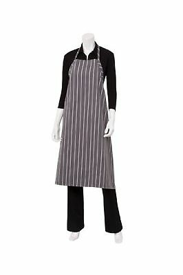 Chef Works English Chef Apron (A100) Charcoal Chalk Stripe