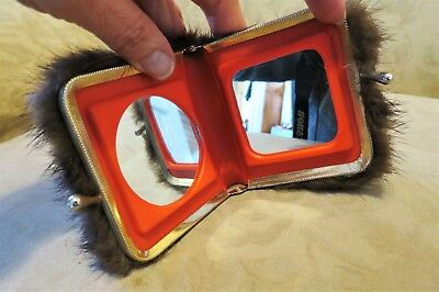 Vintage 1940S Genuine MINK Fur kiss lock Two Sided MIRROR Compact