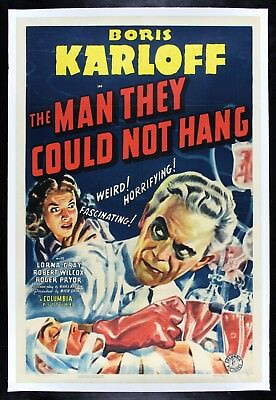 THE MAN THEY COULD NOT HANG ✯ CineMasterpieces 1939 MOVIE POSTER BORIS KARLOFF