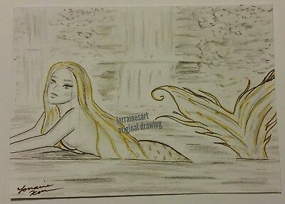 ACEO Mermaid ORIGINAL Drawing Fantasy woman lady beautiful sea magical ocean