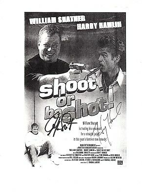 William Shatner and Harry Hamlin signed Shoot or be Shot printout