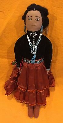 Antique Native American, Indian/Navajo handcrafted Doll w/Mocs/Beading/Rings