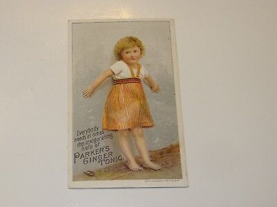 Victorian Trade Card Parker's Ginger Tonic Curefor Cough Consumption Little Girl