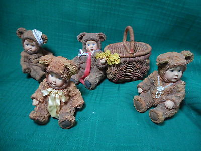 Anne Geddes Set of 4 Baby Bear Figures
