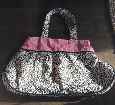 NWOT Womens Gym Bag Large Tote Or Diaper Craft Storage Amy Butler Pattern Black