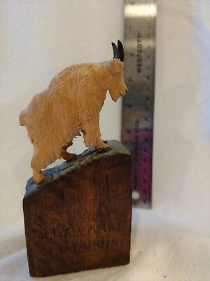 J L Clarke Original wood carving of a Mountain Goat.