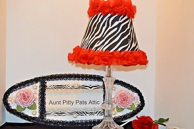 Zebra fabric shade with Red Rose Trim with lamp base and FREE SHIPPING