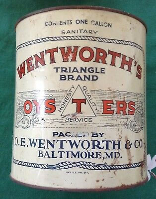 Vintage Wentworth's Triangle Brand oysters tin